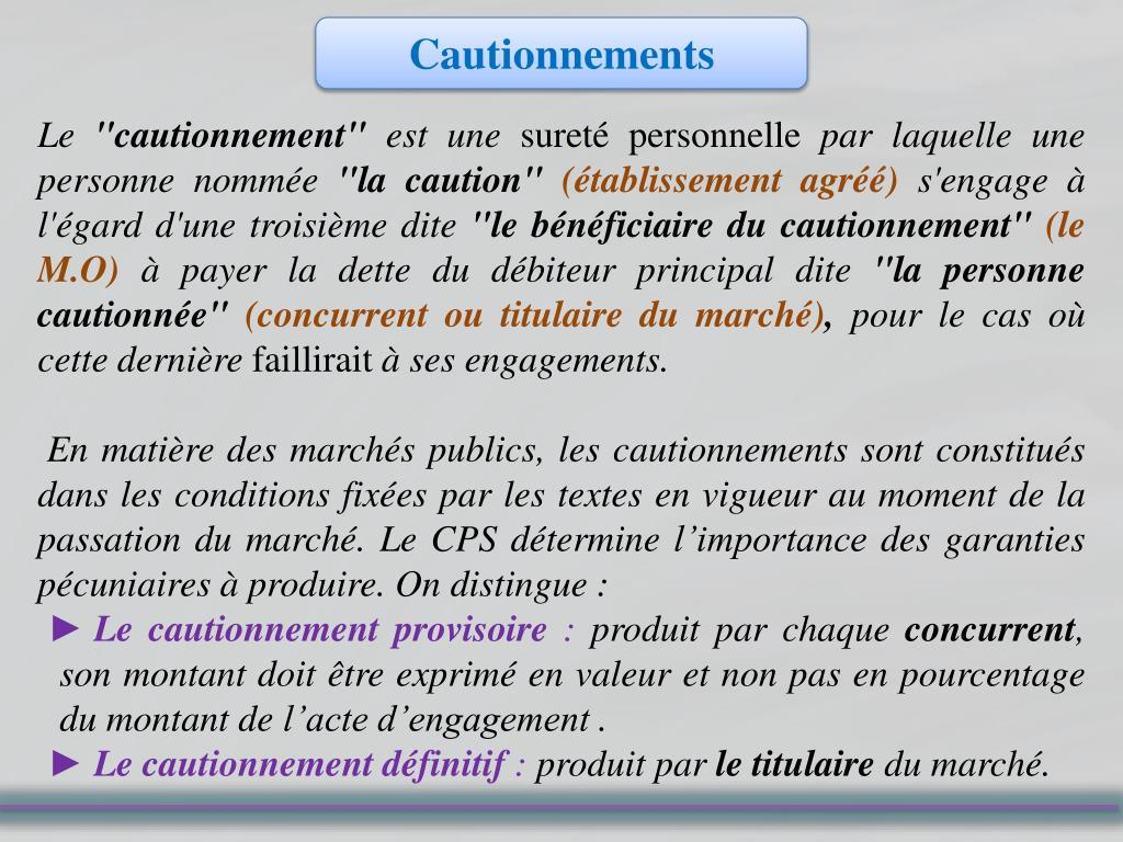 Cautionnements