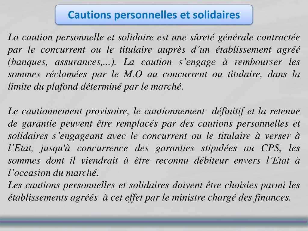 Cautions personnelles et solidaires