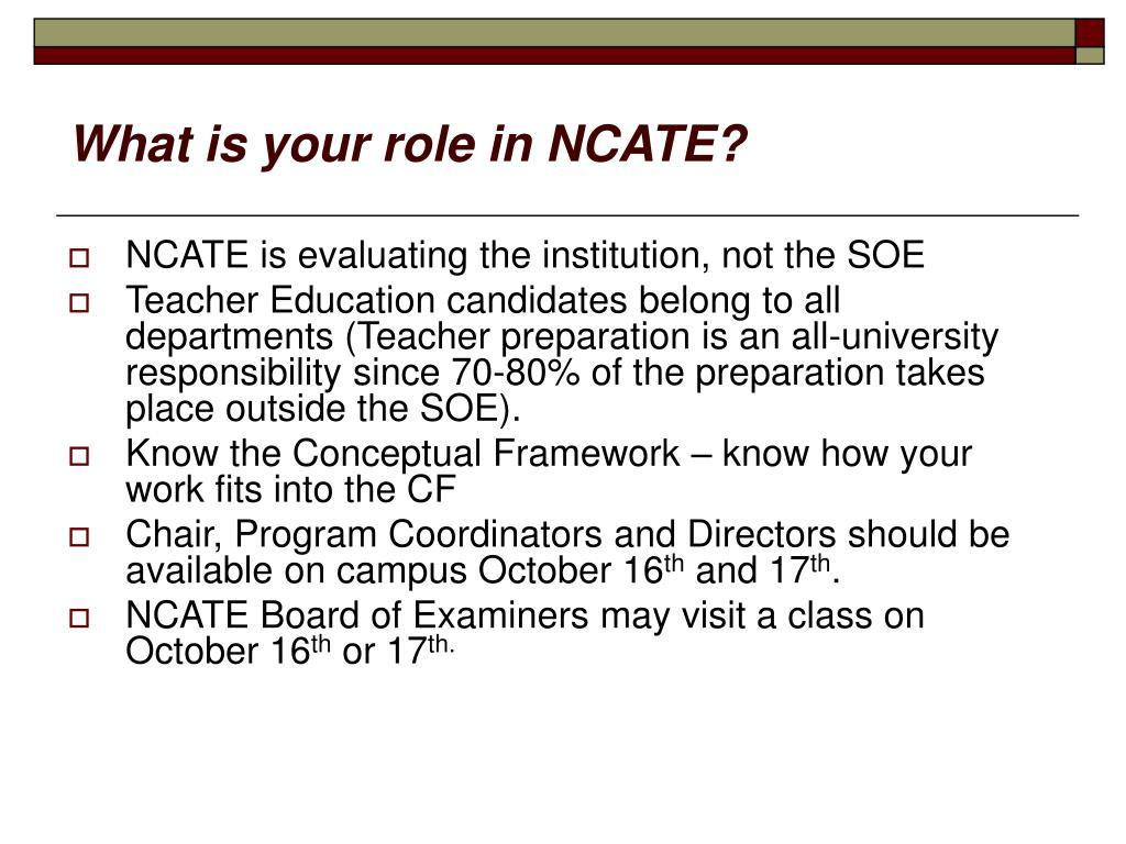 What is your role in NCATE?