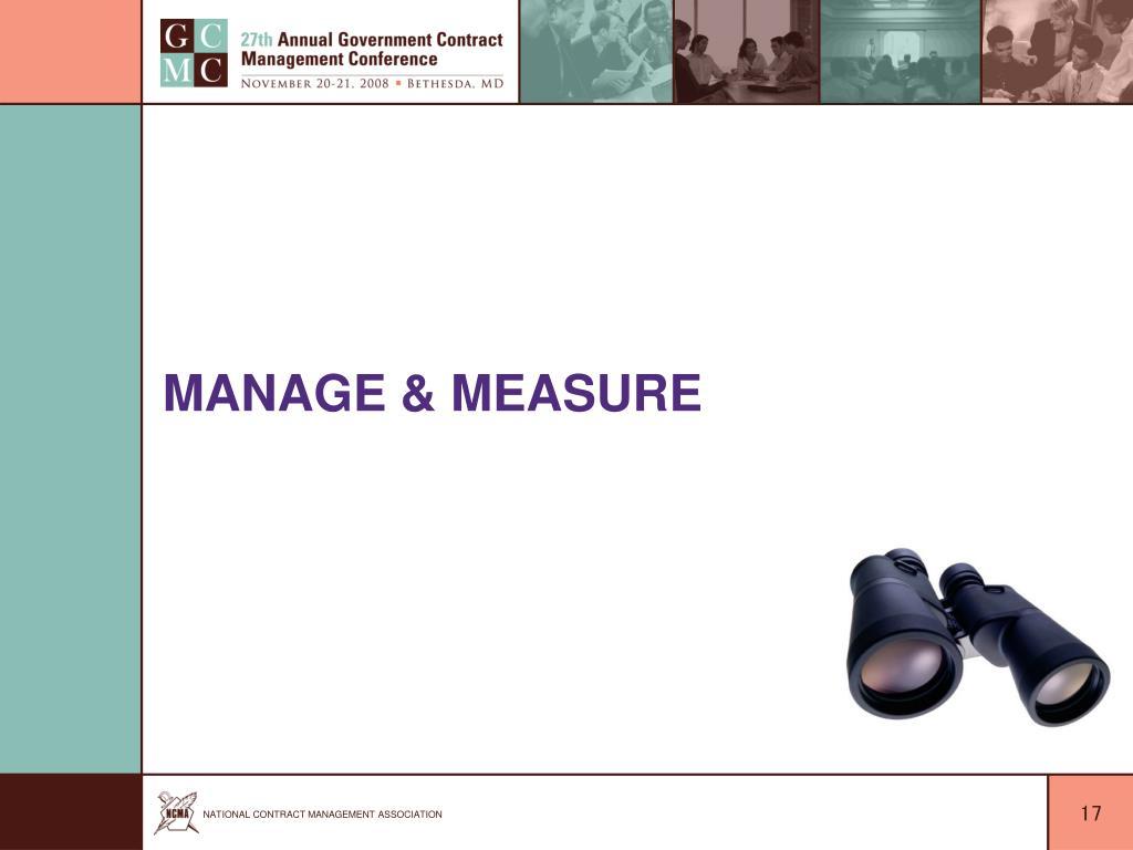 Manage & Measure