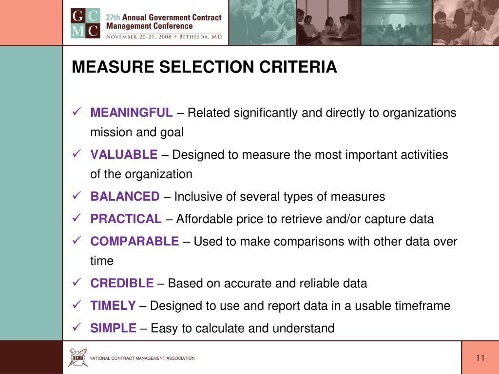 Measure Selection Criteria