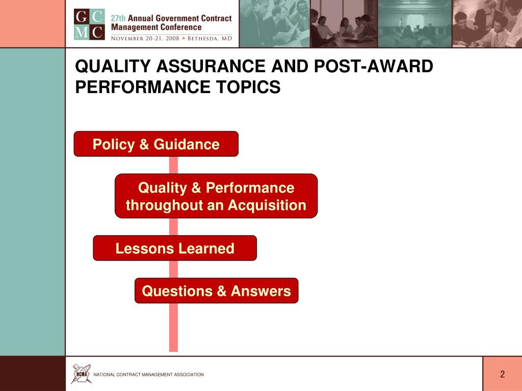 Quality Assurance and Post-Award Performance Topics