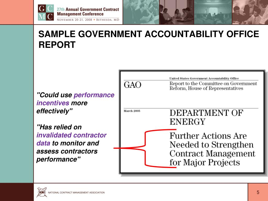 Sample Government Accountability Office Report