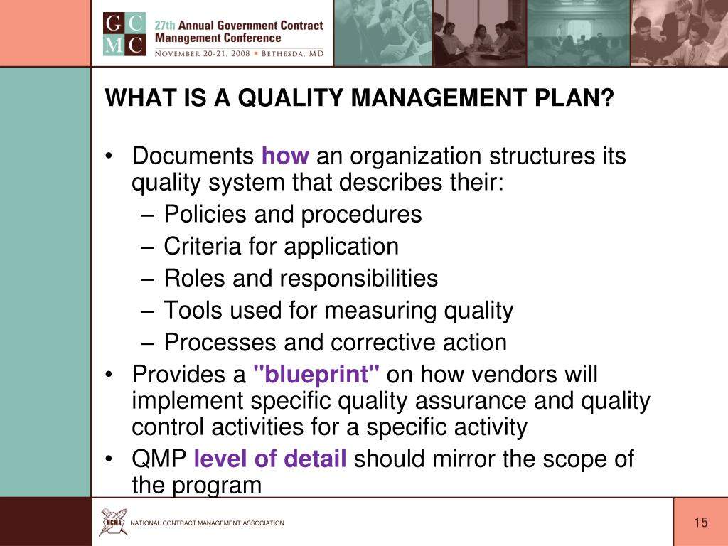 What is a Quality Management Plan?