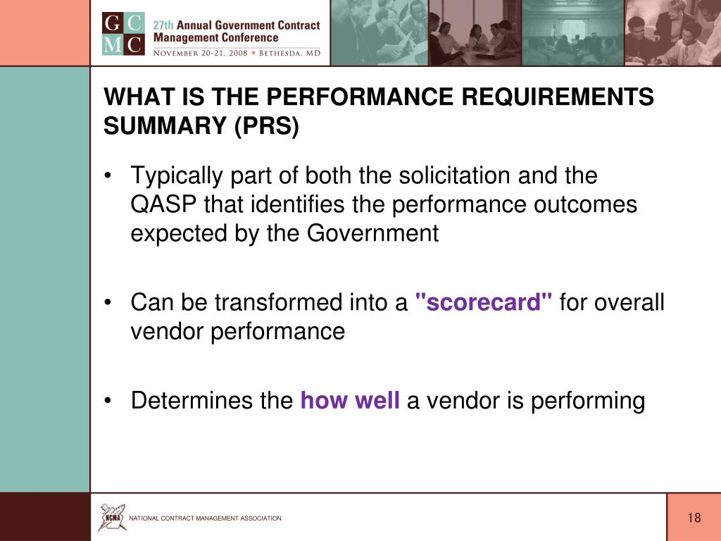 What is the Performance Requirements Summary (PRS)