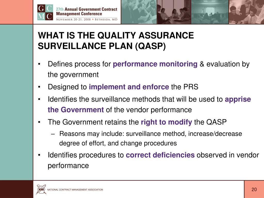 What is the Quality Assurance Surveillance Plan (QASP)