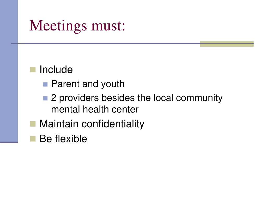 Meetings must: