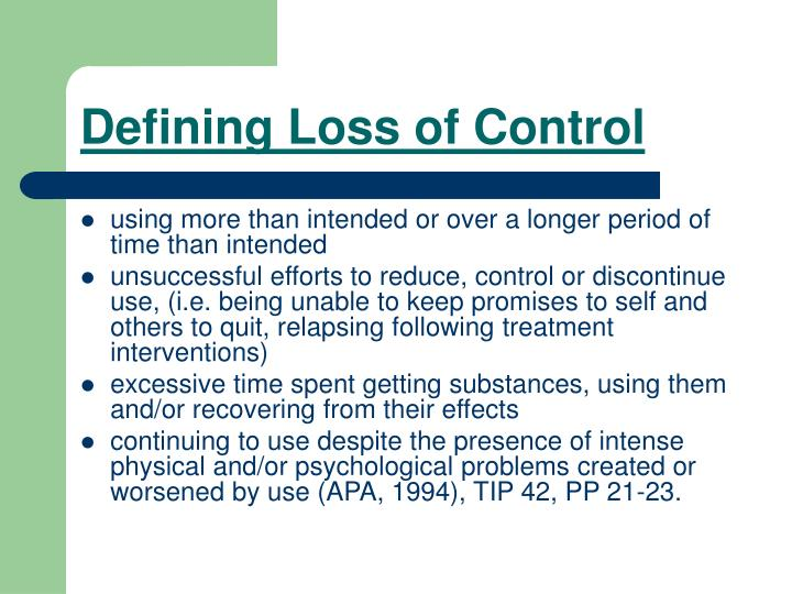 Defining Loss of Control