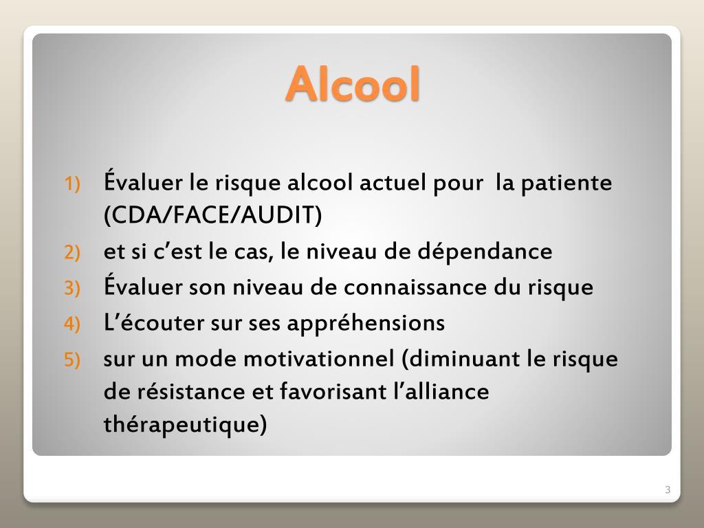 Évaluer le risque alcool actuel pour  la patiente