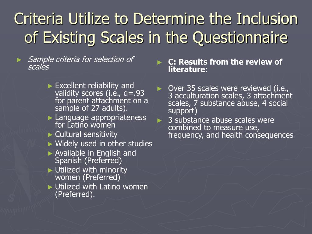 Sample criteria for selection of scales