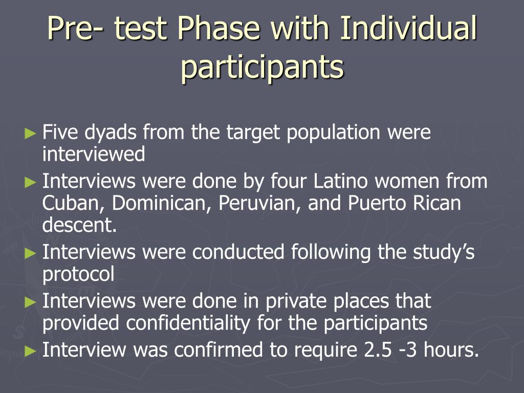 Pre- test Phase with Individual participants