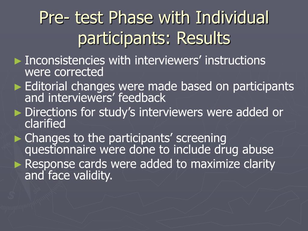 Pre- test Phase with Individual participants: Results