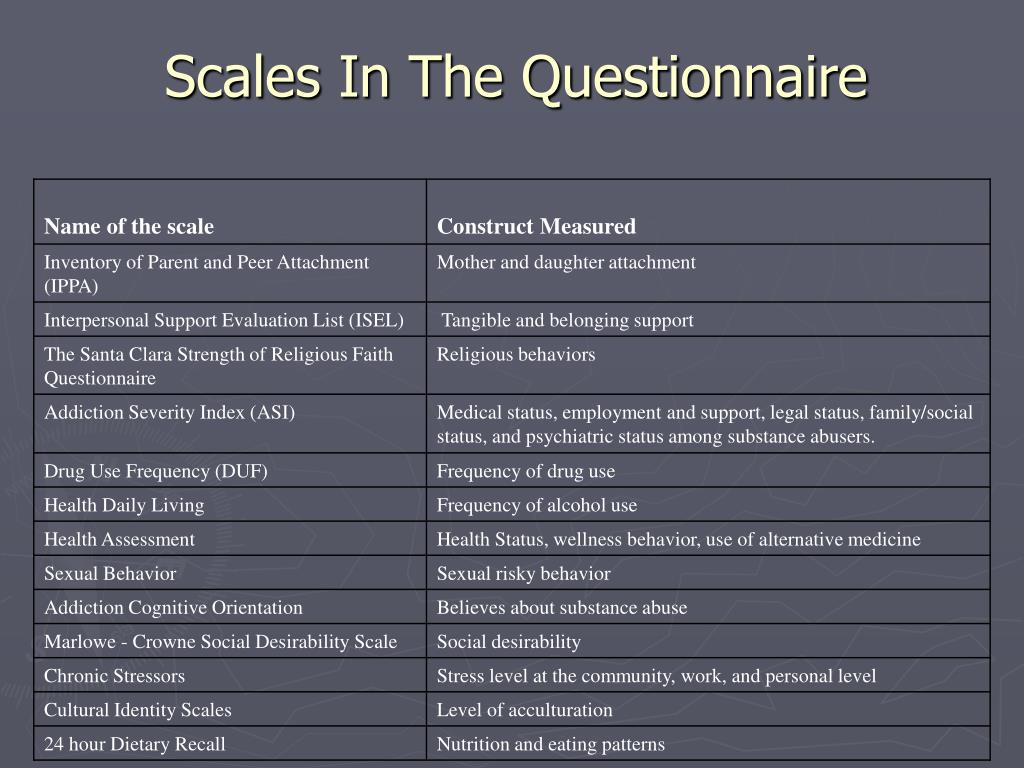 Scales In The Questionnaire