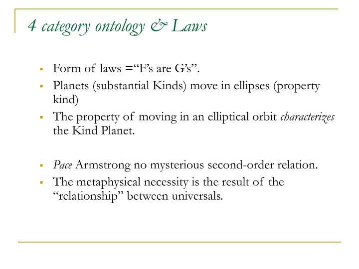4 category ontology & Laws