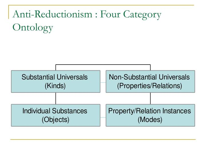 Anti-Reductionism : Four Category Ontology
