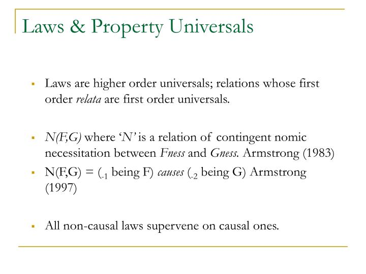 Laws & Property Universals