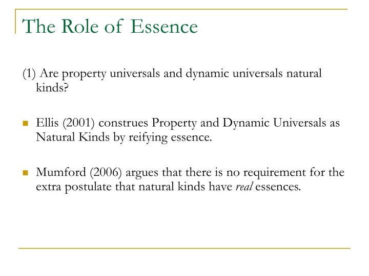 The Role of Essence