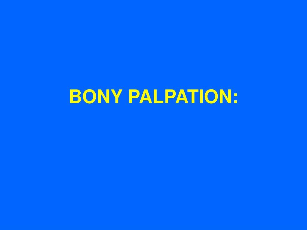 BONY PALPATION: