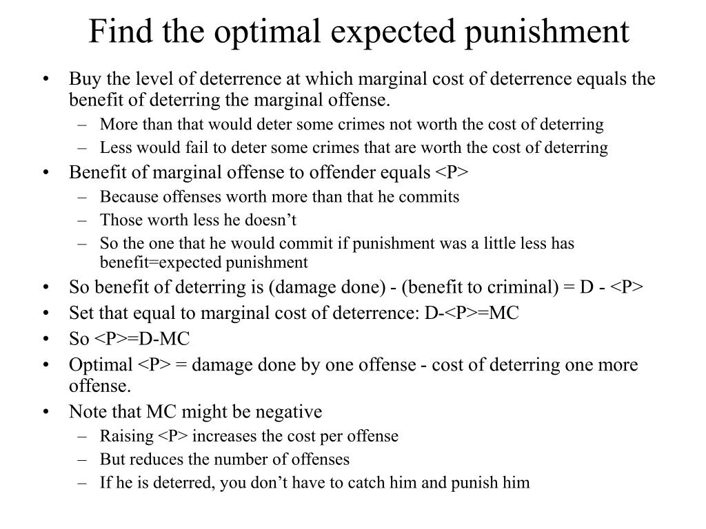 Find the optimal expected punishment
