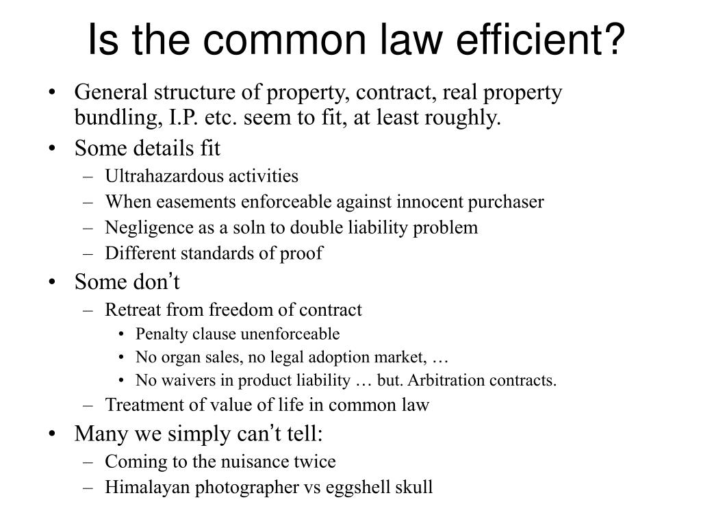 Is the common law efficient?