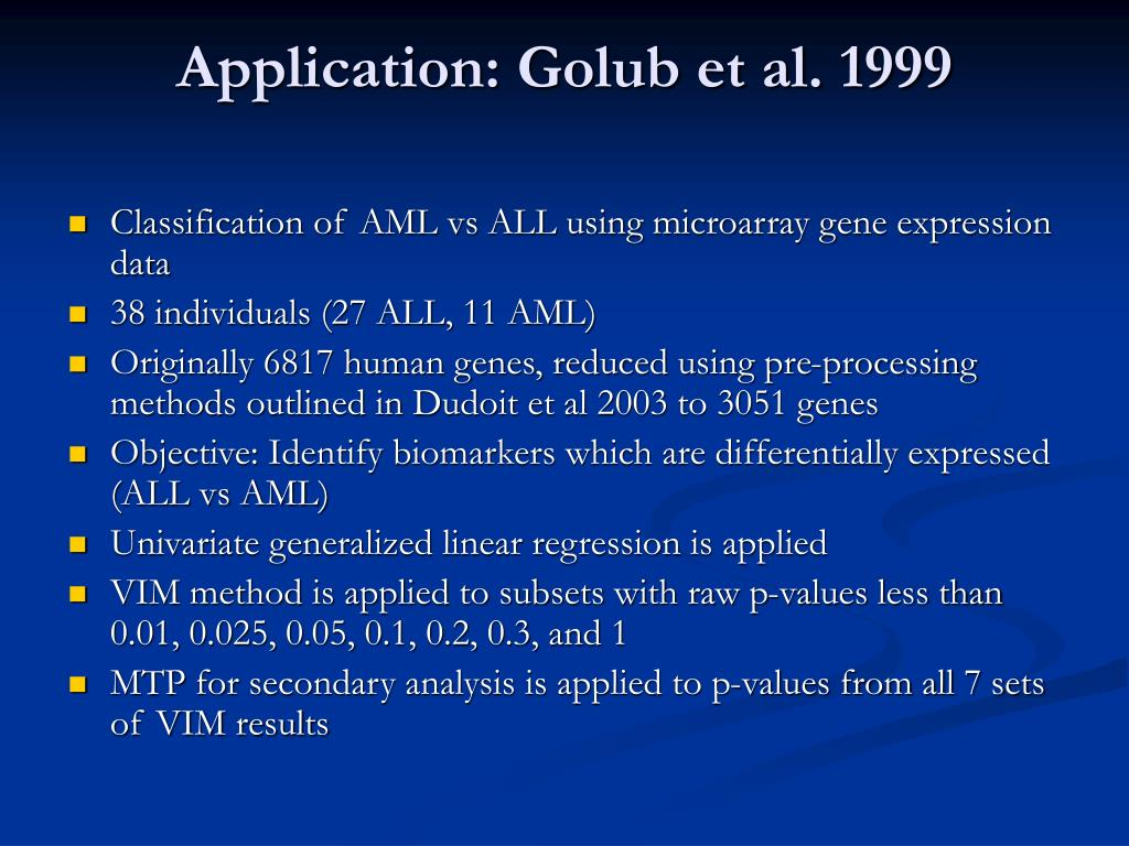 Application: Golub et al. 1999