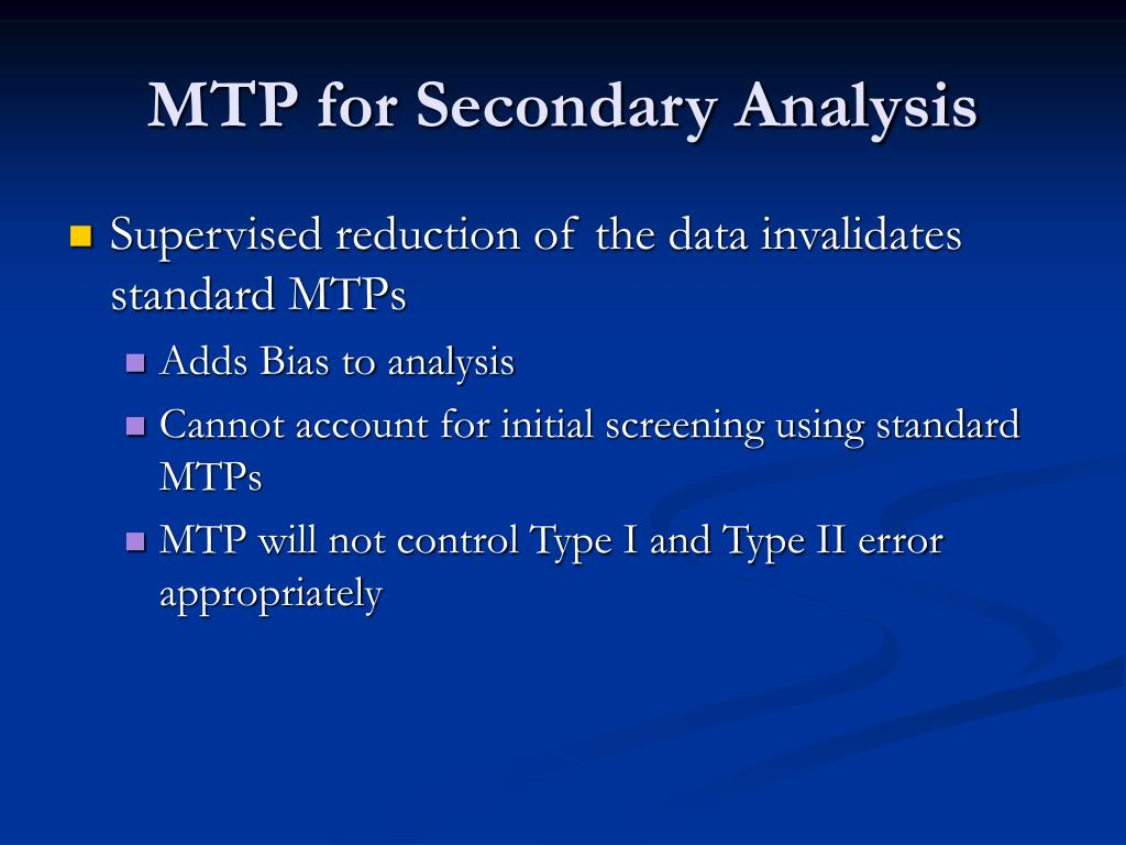 MTP for Secondary Analysis