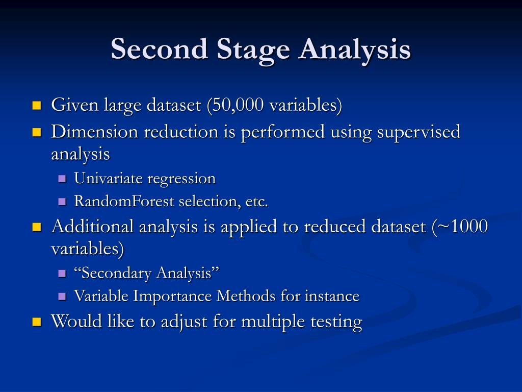 Second Stage Analysis