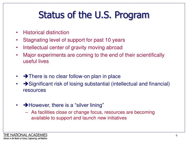Status of the U.S. Program