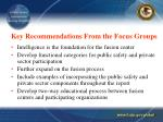 key recommendations from the focus groups