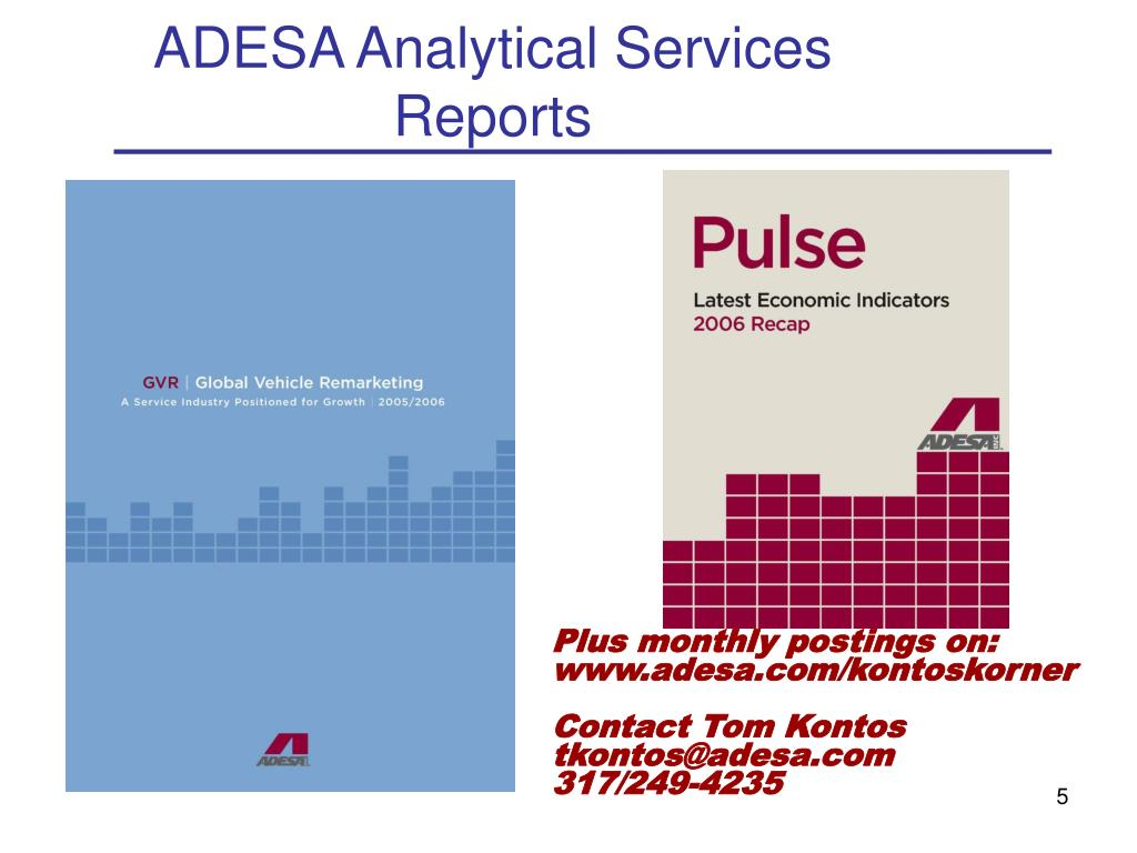ADESA Analytical Services Reports