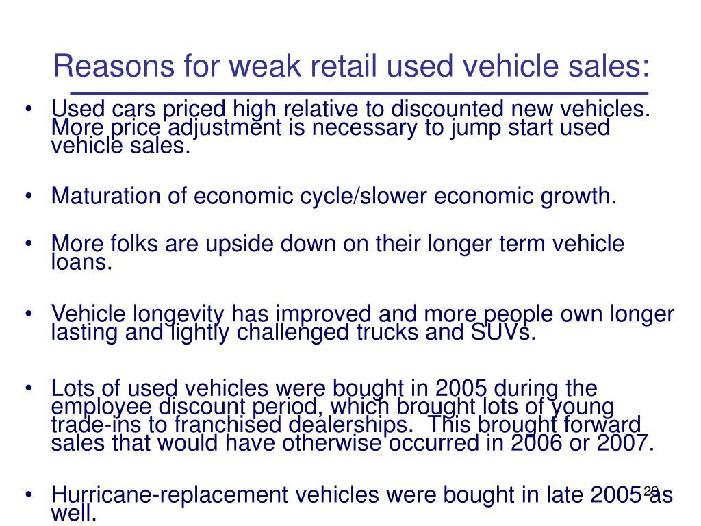 Reasons for weak retail used vehicle sales: