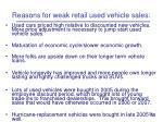 reasons for weak retail used vehicle sales