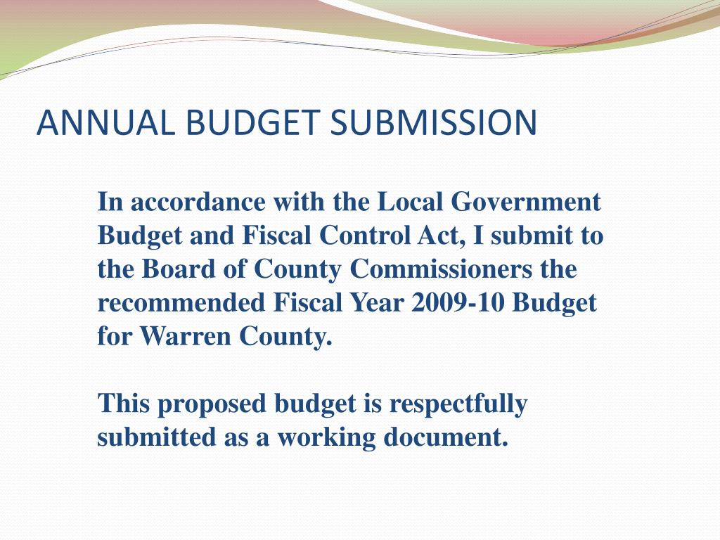 ANNUAL BUDGET SUBMISSION