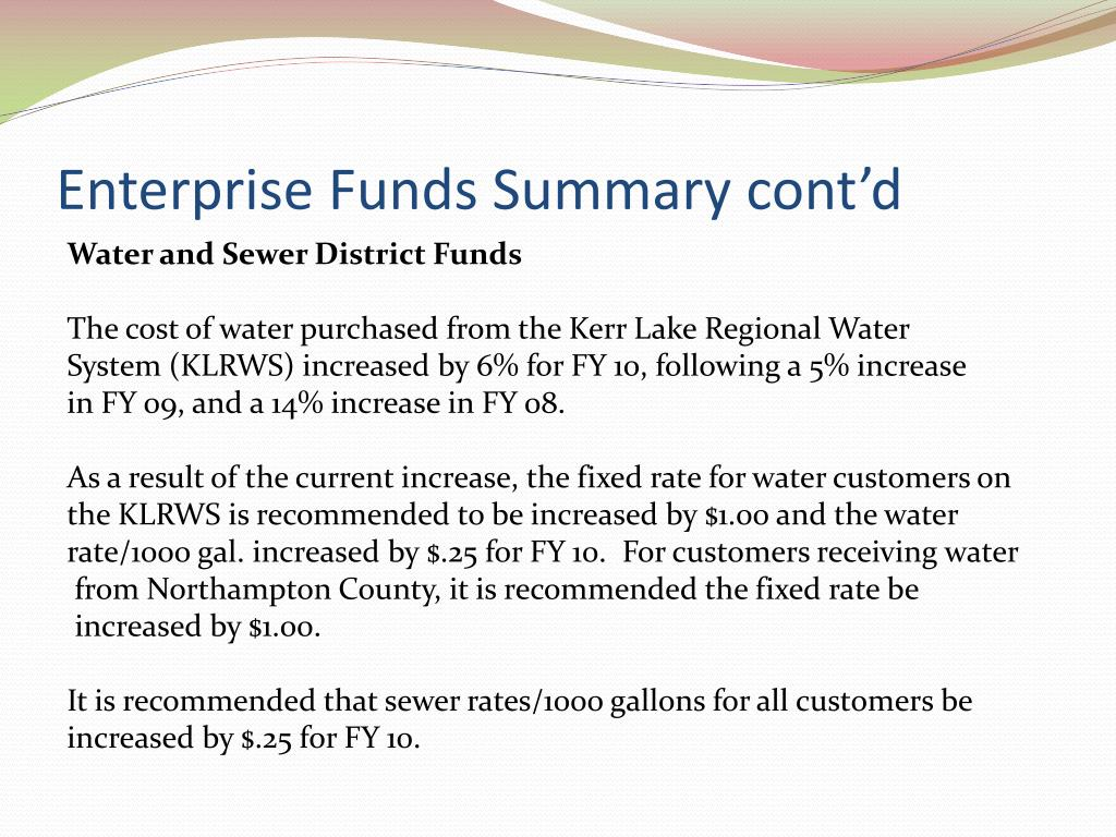 Enterprise Funds Summary cont'd