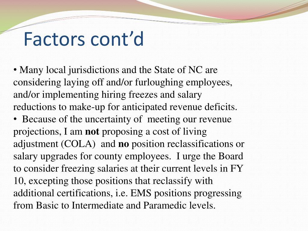 Factors cont'd