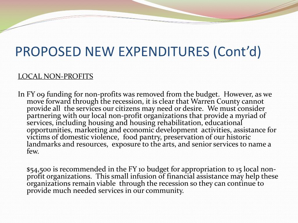 PROPOSED NEW EXPENDITURES (Cont'd)