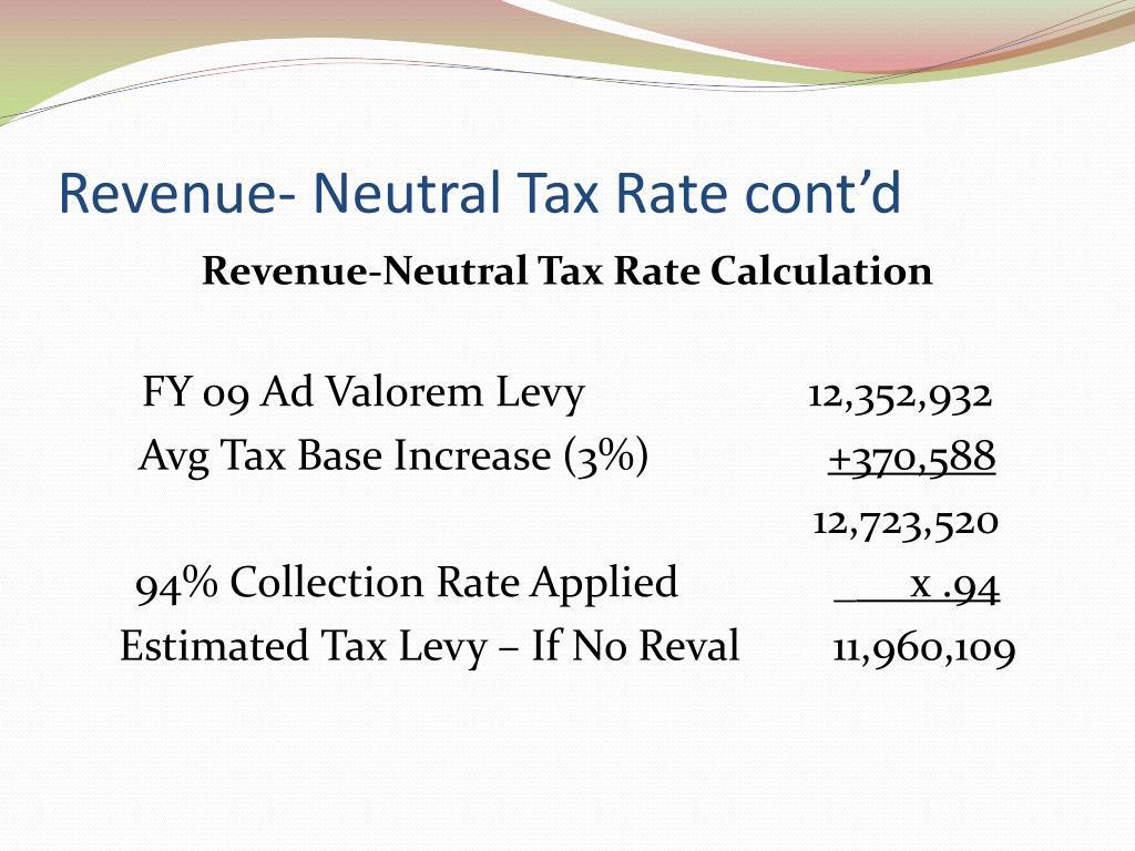 Revenue- Neutral Tax Rate cont'd