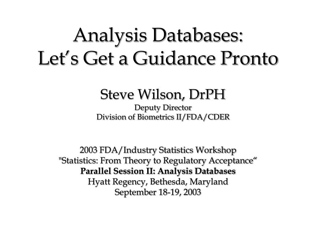 Analysis Databases: