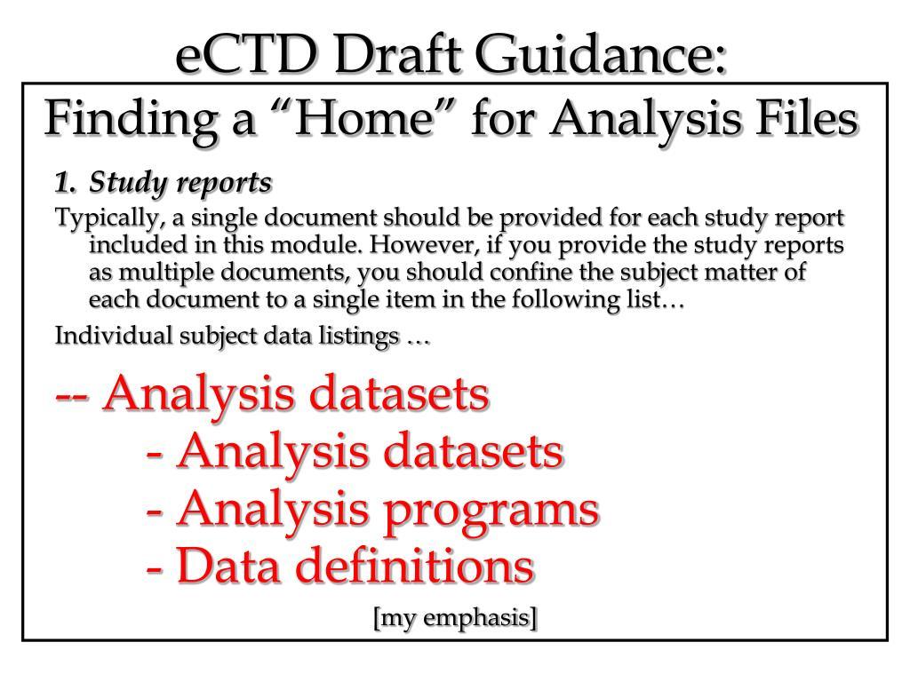 eCTD Draft Guidance: