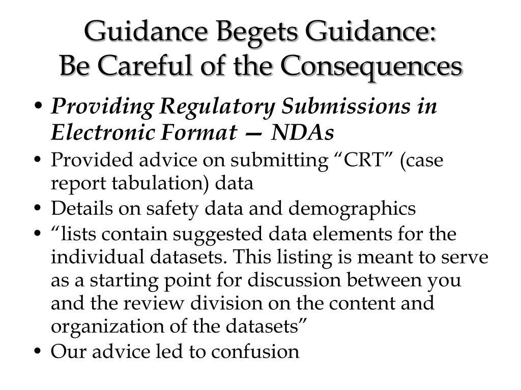Guidance Begets Guidance: