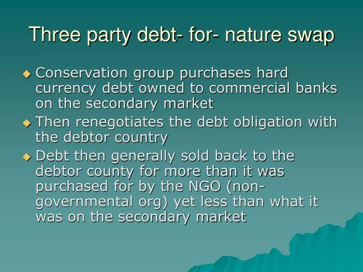 Three party debt- for- nature swap