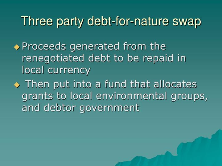 Three party debt-for-nature swap