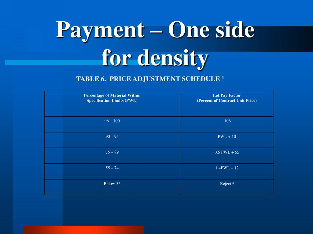 Payment – One side for density