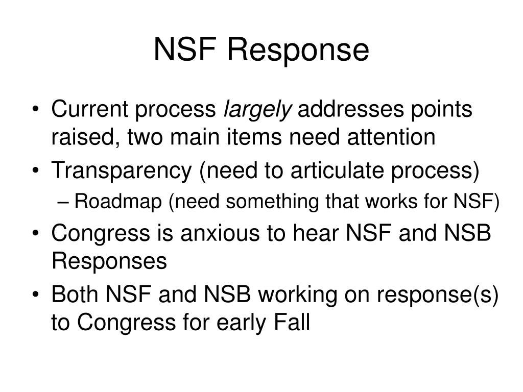 NSF Response