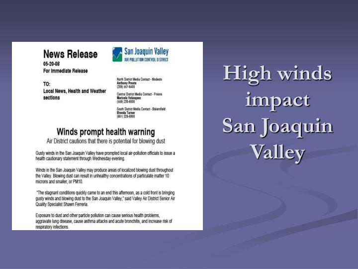 High winds impact