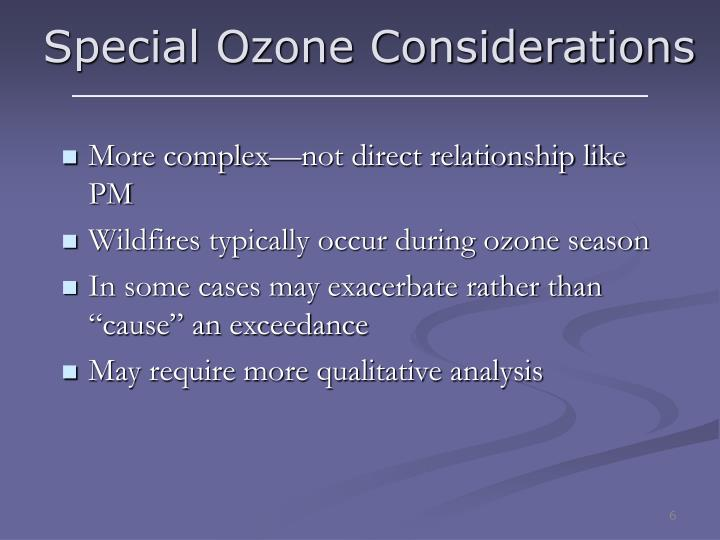 Special Ozone Considerations