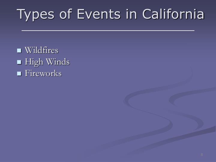 Types of Events in California