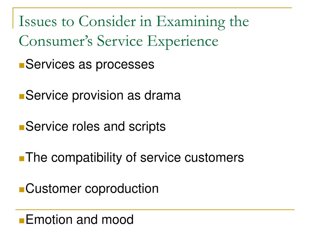 Issues to Consider in Examining the Consumer's Service Experience