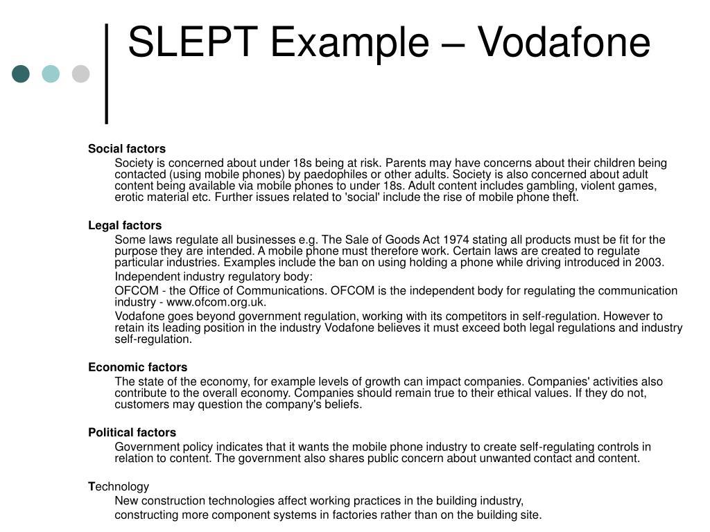 SLEPT Example – Vodafone