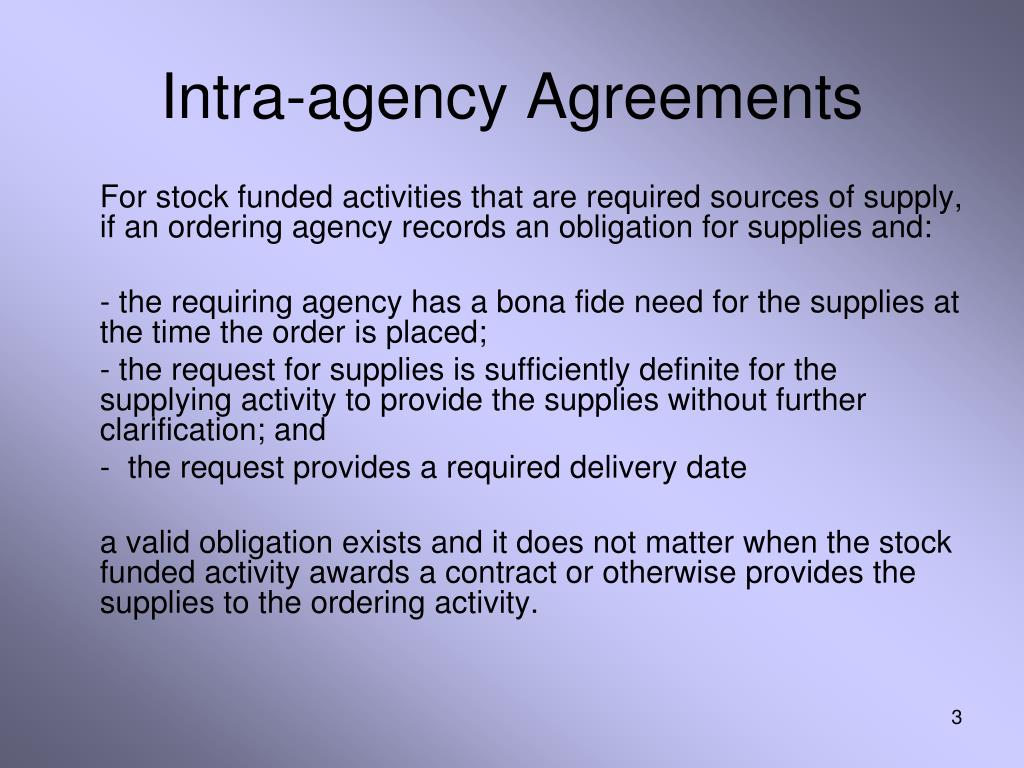 Intra-agency Agreements